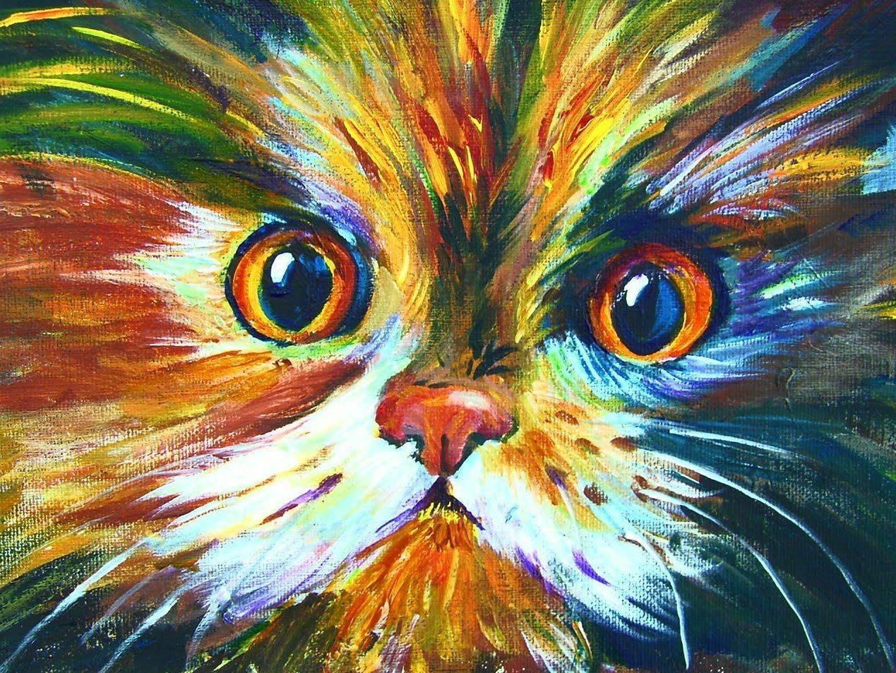 урок рисования акрилом коты фото нищего