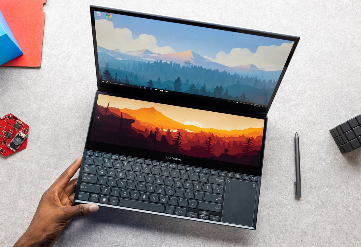 Marques Brownlee On Twitter Finally Got The Asus Zenbook Pro Duo In The Building And Damn It S Like The Touchbar On Crazy Steroids Til It S Literally Nearly Another 4k Display Video Worthy