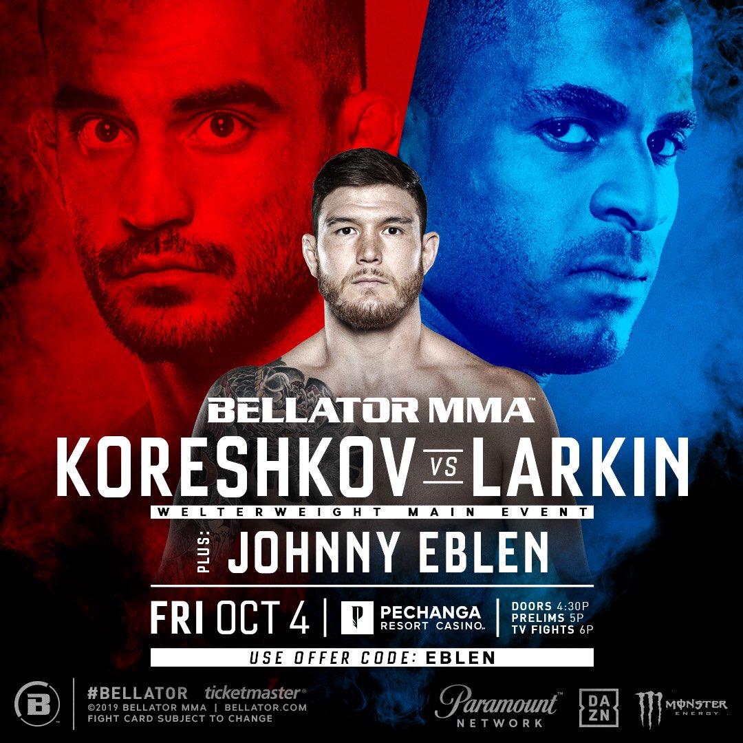 Прямая трансляция Bellator 229: Koreshkov vs. Larkin