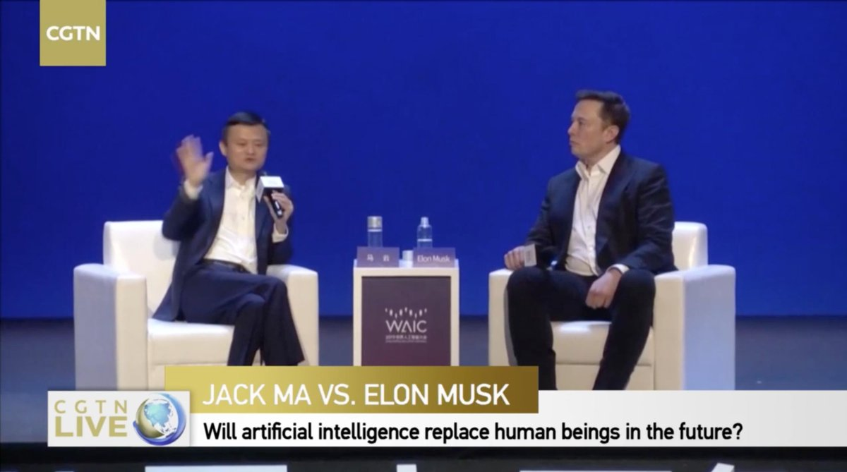 Jack Ma & @elonmusk obviously on diff wavelengths on the subject of life Ma: We need a hero like u but we need more heroes like us improving things on earthMusk: To be clear I'm very pro earth... Just 1% of earth's resources should be enough to make life multiplanetary. #WAIC