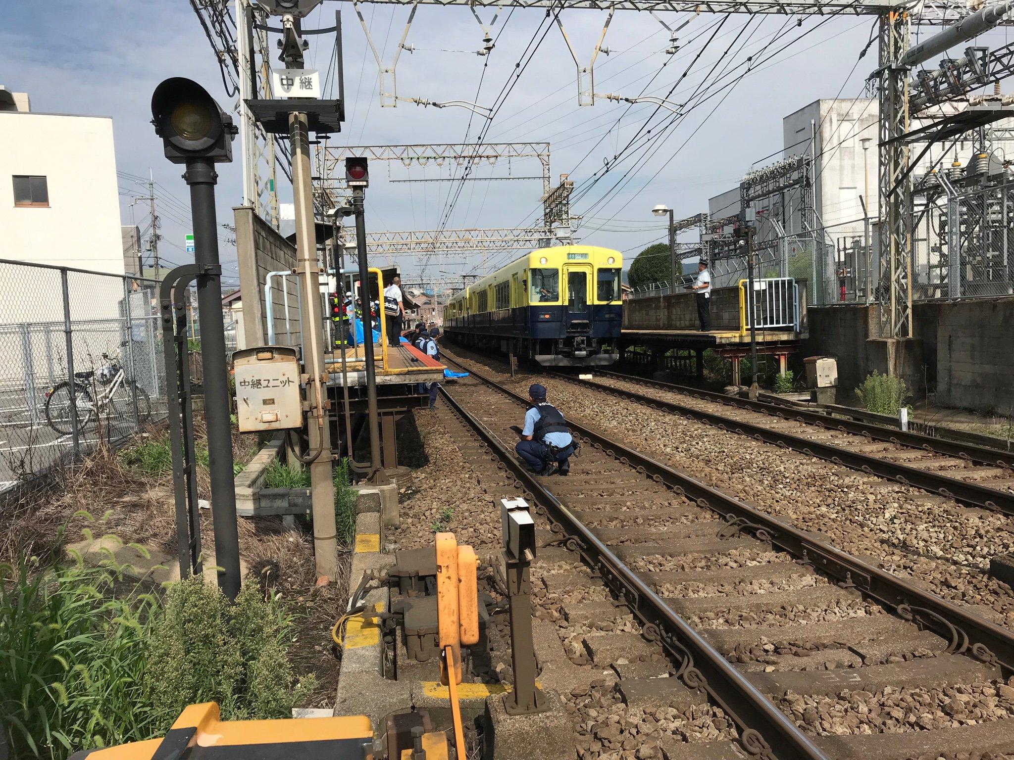 近鉄大阪線の二上駅で人身事故が起きた現場の画像