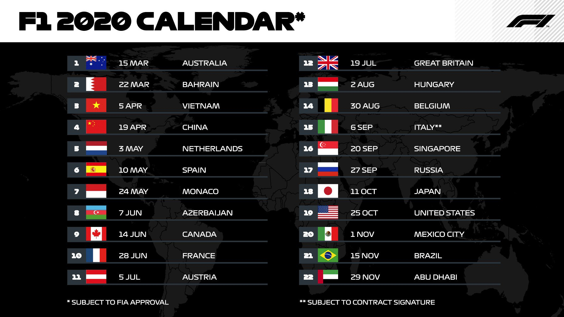 Formula 1 2022 Calendar.Formula 1 On Twitter F1 2020 Calendar 22 Races 7 Back To Back Race Weekends First Ever Race In Vietnam 5 Apr A Return To Zandvoort 3 May Subject To Fia Approval Https T Co Ivutnfnoyd