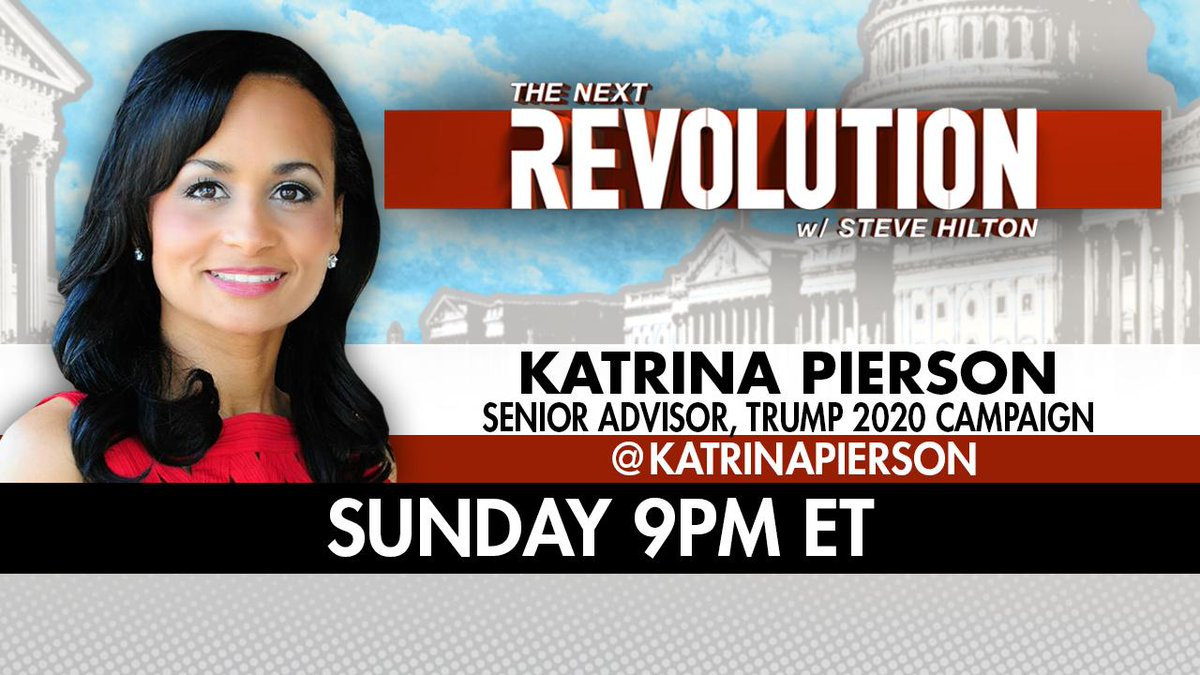 TONIGHT! See @KatrinaPierson on #NextRevFNC! Tune in at 9pm ET on @FoxNews!