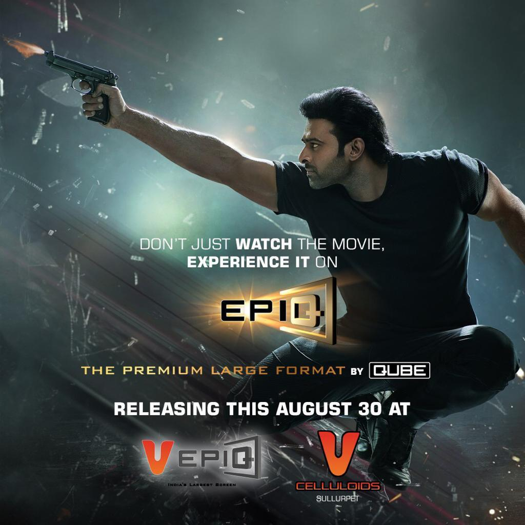 Enter the world of #SaahoInCinemas from tomorrow! Experience it on #VEpiq, the largest and most immersive screen in the history of Indian cinema, at #Sullurpeta.  #Saaho #30AugWithSaaho <br>http://pic.twitter.com/51xOrnEMop