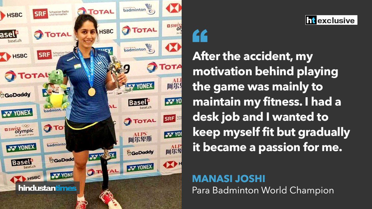 Lost a leg but didn't lose heart - The Manasi Joshi story   @joshimanasi11 #BWFWC2019  Read exclusive interview here:   https://www. hindustantimes.com/other-sports/m anasi-joshi-s-rise-to-become-para-badminton-world-champion-is-a-story-of-pure-grit-exclusive-interview/story-WgItKJW32trZtD5q7hnt5J.html  … <br>http://pic.twitter.com/967XDMOQC9
