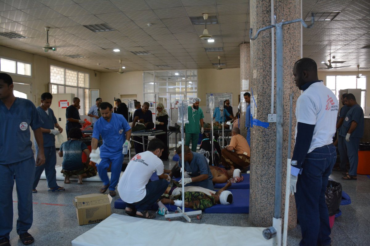 #Aden:51 wounded casualties have been admitted to the MSF hospital in #Aden .10 were dead on arrival. The hospital has 80 inpatients. #Yemen