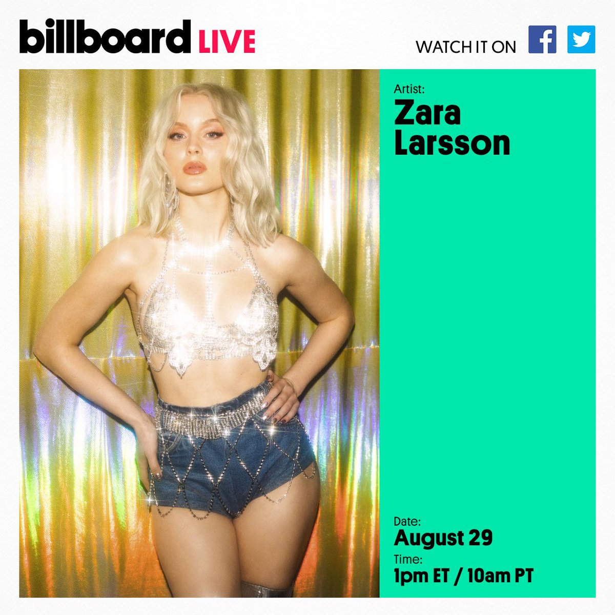 .@zaralarsson is stopping by for a Billboard Live performance followed by a live Q&A! Submit your questions using #BillboardLive and we might ask them on air. 💕