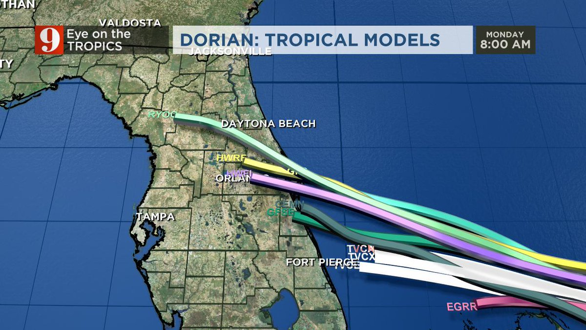 Rusty Mccranie On Twitter While Most Of Our Computer Models Are In Agreement With Central Florida Seeing Direct Impacts From Dorian The Euro Model Being An Outlier South Today Will Be An