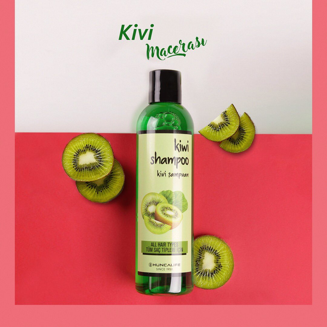 Yaza veda ettiğimiz bugünlerde saç bakımını aksatma! Huncalife Kivili Şampuan ile saçların daha canlı görünecek. 🥝💚