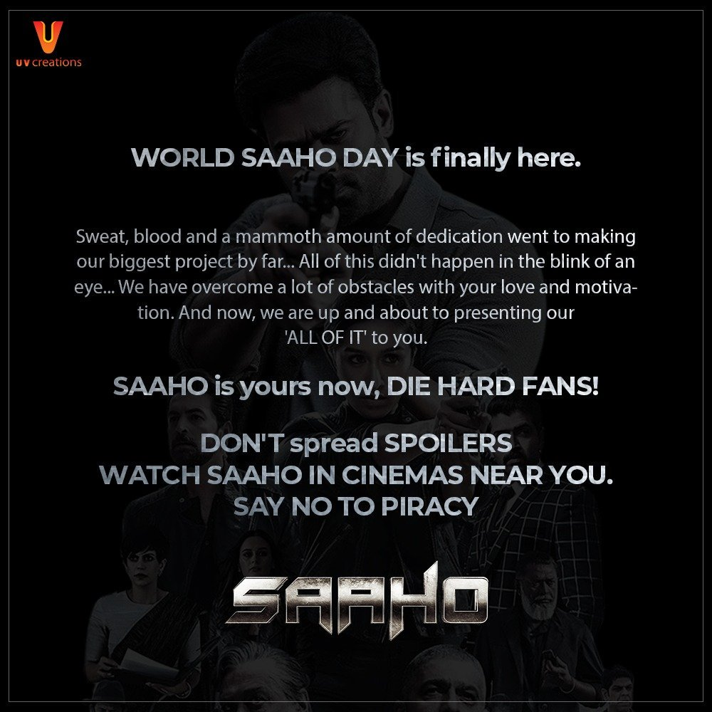 #SaahoInCinemas now! Watch it at your nearest theaters and experience the action!  SAY NO TO SPOILERS! Report piracy to claims@antipiracysolutions.org or WhatsApp to 8978650014  #Saaho #WorldSaahoDay <br>http://pic.twitter.com/2rshOQQY1k