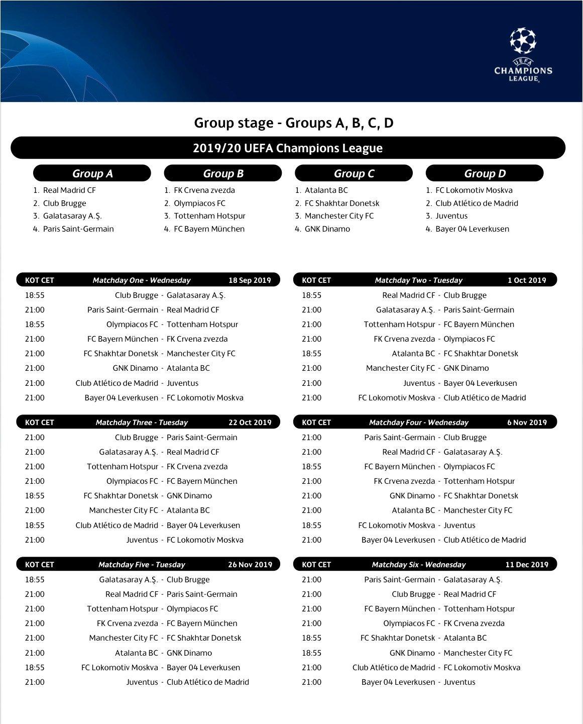 Uefa Calendrier 2020.News Pros U19 Les Calendriers De La Ldc Et De L Uefa Youth