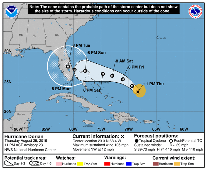 Dorian to Strengthen Through Labor Day Weekend, Make US Landfall as Major Hurricane