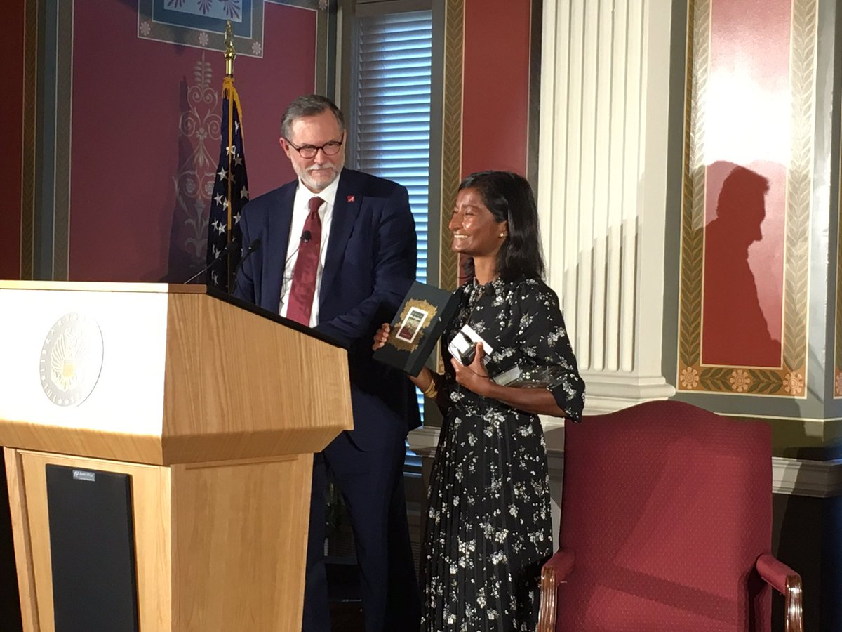 Sharon Bala, the author of The Boat People, accepts the 2019 Harper Lee Prize for Legal Fiction at the Library of Congress. When Ms. Bala was 14, she read To Kill a Mockingbird in one weekend. She said she was honored to receive a literary award named for the author of a classic. https://t.co/NKCGug2ERr