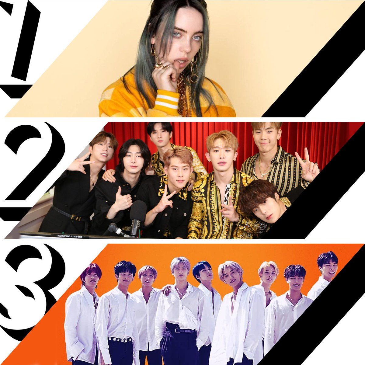 Here's Friday's #RDTop3! 1. @BillieEilish #badguy (with #JustinBieber) 2. @OfficialMonstaX #WHODOULOVE (f. @FrencHMonTanA) 3. @NCTsmtown_127 #HighwayToHeaven<br>http://pic.twitter.com/wOpq2MMire