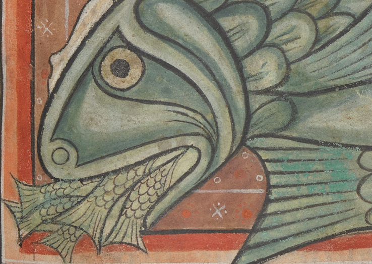 @JuliaWalworth @MatthewHolford @BDLSS A wonderful video on medieval bestiary tradition about whales, their huge size & eating habits.   (based on the image & text of BL, Harley MS 4751: ) #PolonskyPre1200