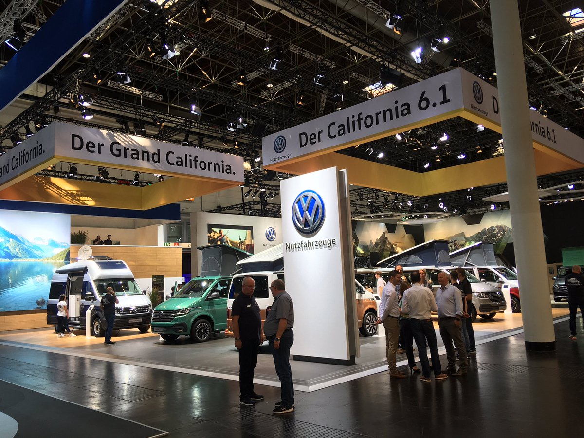 Good morning from the @Volkswagen_CV stand at the #CaravanSalon in Düsseldorf. We've got four California 6.1s, a Grand California 600 and a Caddy Beach on show.