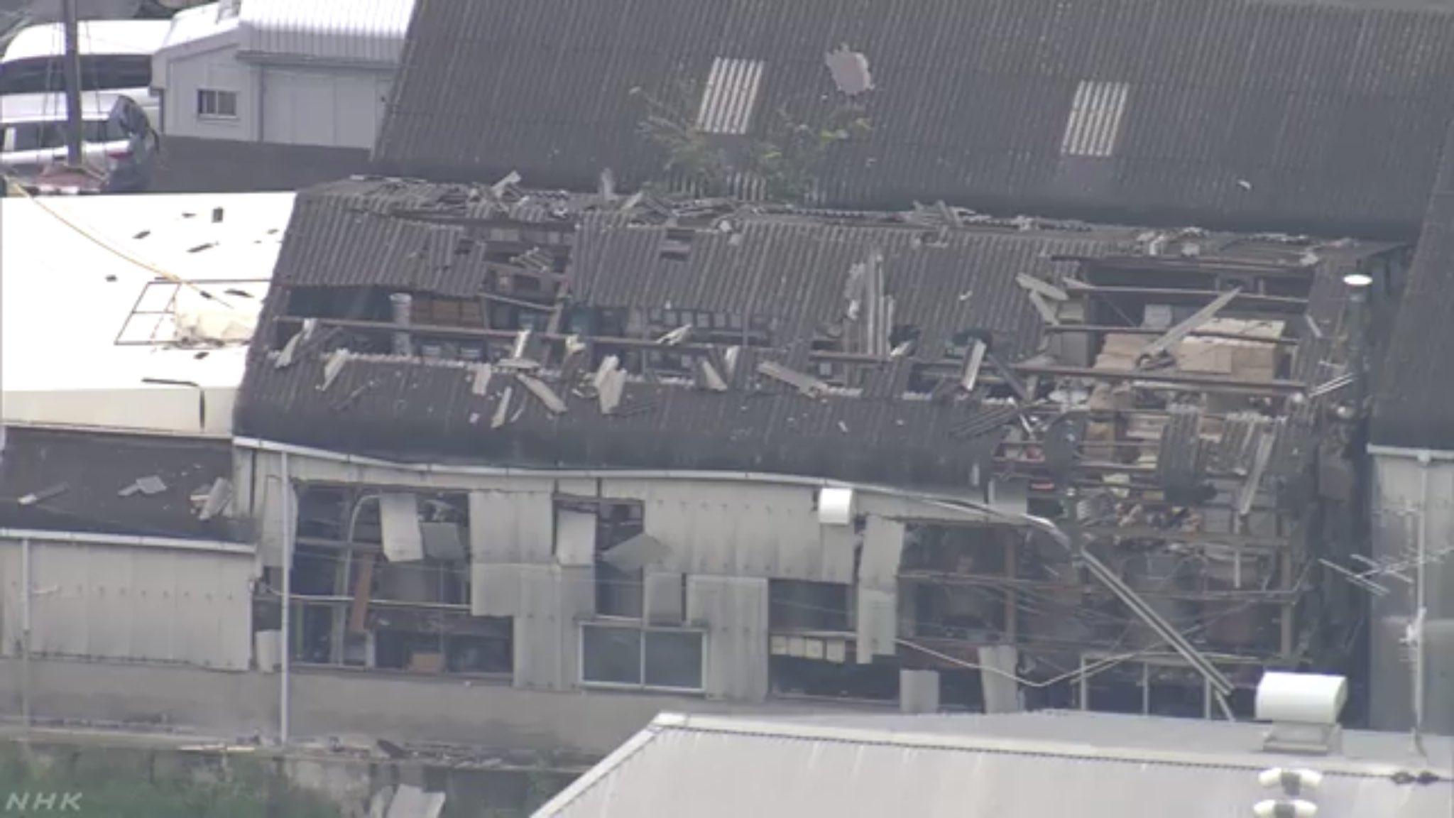 名古屋市西区新木町の工場で爆発事故が起きた現場の画像