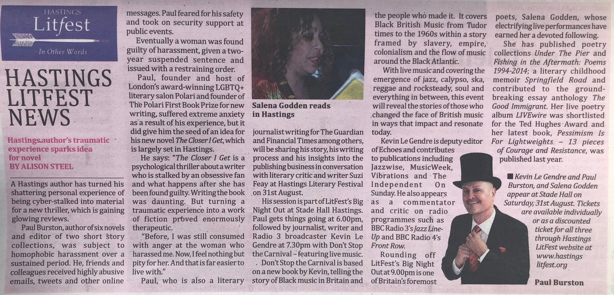 Thanks to #Hastings Independent Press for this preview of @HastingsLitFest tomorrow, where I'll be discussing #TheCloserIGet @OrendaBooks with @suzifeay