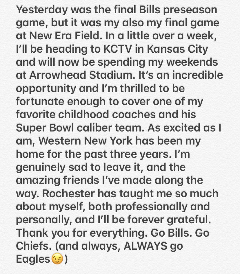 A day before the NFL roster cut deadline, I have a transaction to announce.   The Buffalo Bills and @news10nbc trade...me....to the Kansas City Chiefs and @KCTV5 !  Andy Reid (may I call you Andy? Big Red, perhaps?) this Pennsylvania girl can not WAIT to meet you. https://t.co/crRn16faCv