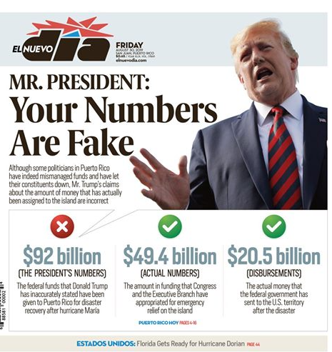 Mr. President, your numbers are fake. @realDonaldTrump Look for our print and digital editions. elnuevodia.com