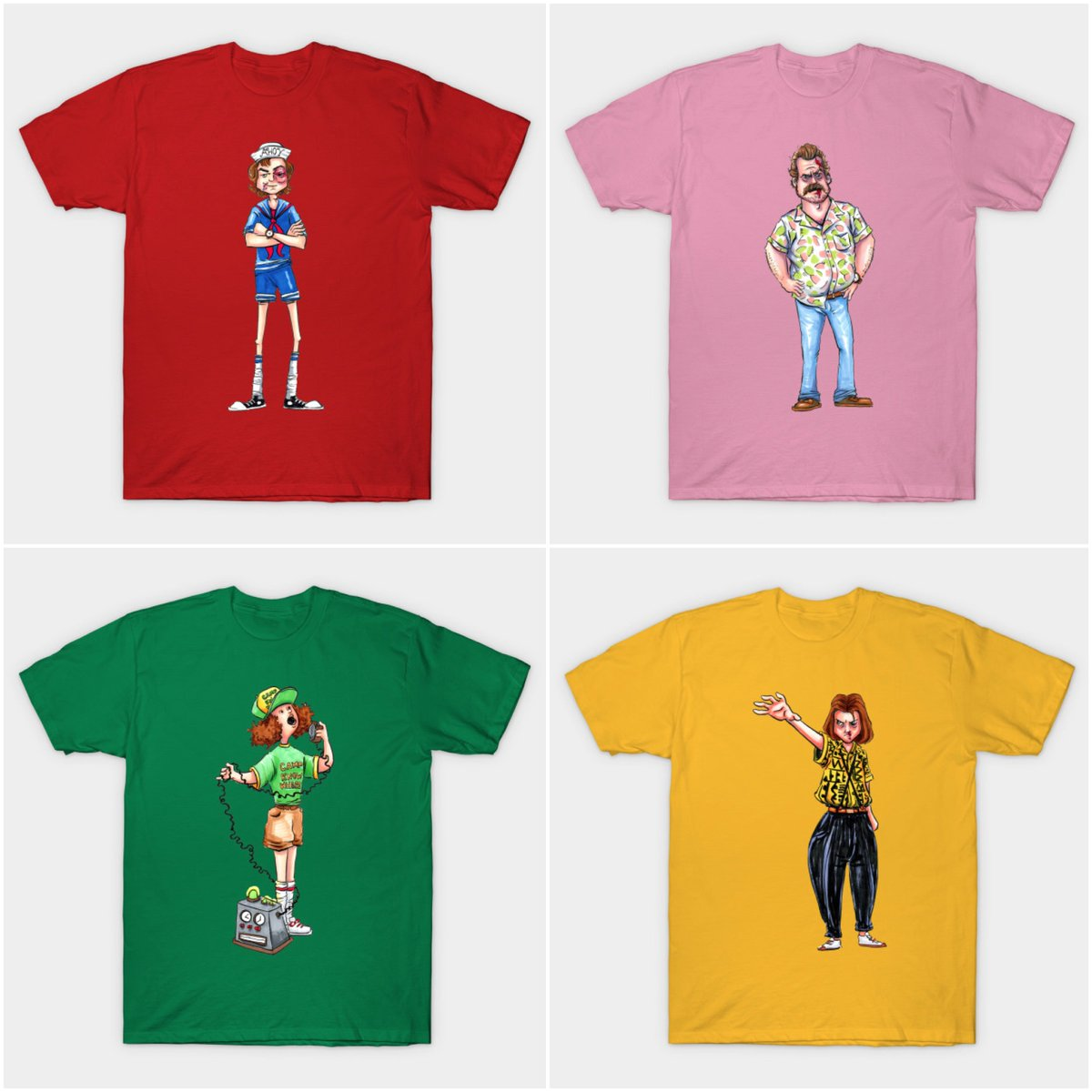 Tees available now at @TeePublic and on sale for just $13 for my little #StrangerThings art series focused on their amazing 80's outfits! Check them out here http://ow.ly/1vgU50vPcWo  #StrangerThingsArt #StrangerThings3 #80s #ILoveThe80s #ArtSale #Tshirts #Geek #Nerd #Scifi