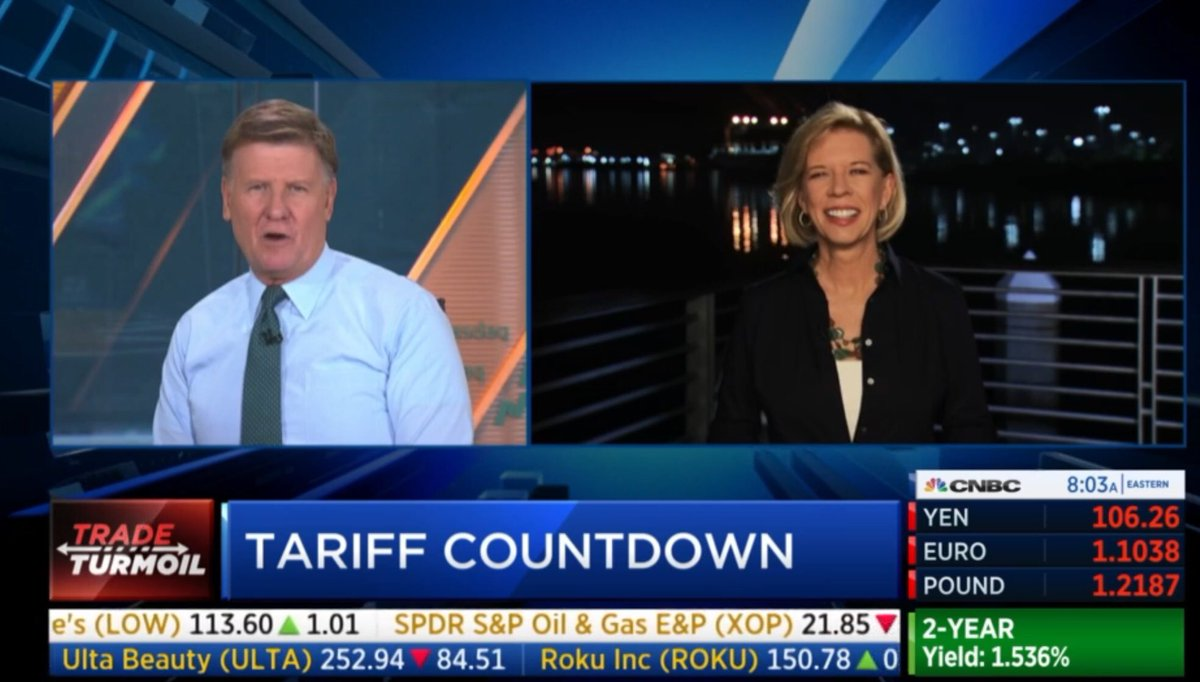 """Best """"live"""" reporter ever: @janewells tidbits from Port of LA:  - The U.S. market for camels - LA warehouses filling up. China goods stockpiling - San Pedro is """"San Pee-dro"""" - it's Fleet Week: """"Hello, Sailor""""  There was more peeps. Jane is must see @cnbc business TV  #TheNatural"""
