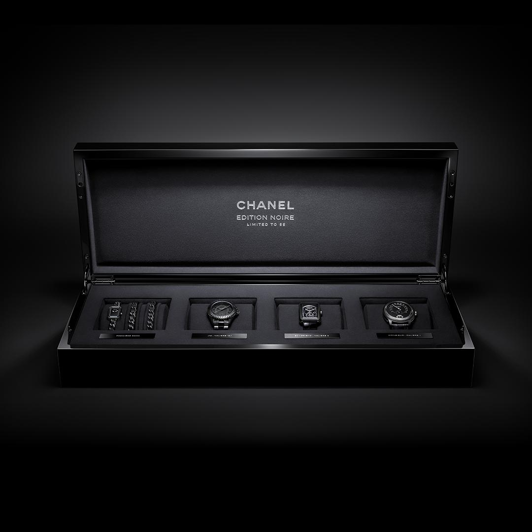 CHANEL presents ÉDITION NOIRE. An exclusive collection of four iconic watches reinvented entirely in black. Each with a limited edition of only 55 pieces. Discover more on http://chanel.com/-EditionNoire#EditionNoire #CHANELWatches #BlackWatches