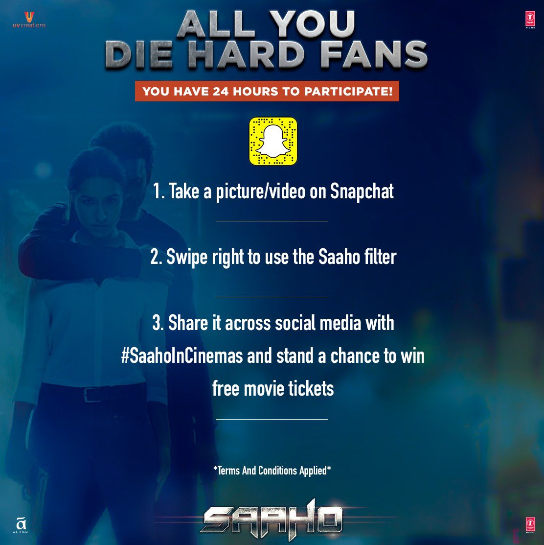 We are sure you don't want to miss this chance! Use the #SaahoFilter and win free movie tickets!   #SaahoInCinemas #WorldSaahoDay #SnapchatFilter<br>http://pic.twitter.com/FAYFhexx1V