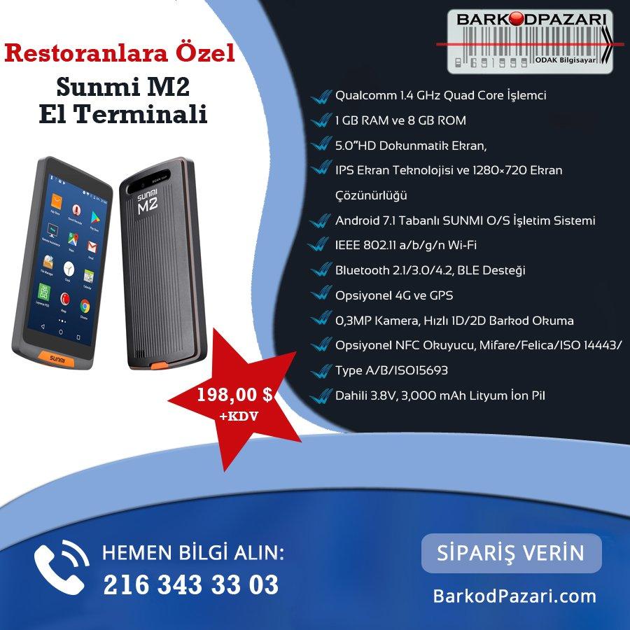 Restoranlara özel El Terminali için bizimle iletişime geçmeniz yeterli  216 343 33 03  http://www.barkodpazari.com/urun/sunmi-m2-android-el-terminali_2654.aspx?CatId=50…  #elterminali #sistem #donanım #bilgisayar #restorantpic.twitter.com/dliUOYw1h1