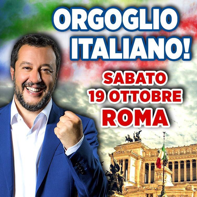 """Salvini: """"Sarà una delle più belle manifestazionidegli ultimi anni.Saremo almeno 100mila in piazza""""."""