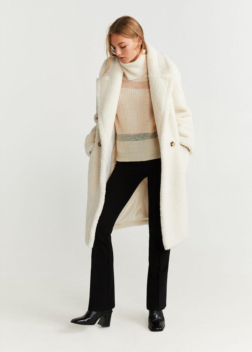 mieux aimé 5aeb8 43d6d Mango MICHELA Manteau imitation mouton blanc cassé pas cher ...