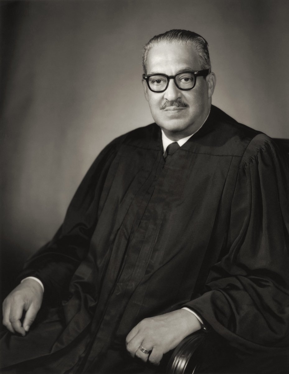 """On this day in 1967, Thurgood Marshall became the first black Supreme Court Justice in the History of the United States. We remember him today and we honor his service in helping to """"perfect"""" our great American union. #epluribusone #epluribusunum #ThurgoodMarshall<br>http://pic.twitter.com/RiMg3kY7E7"""