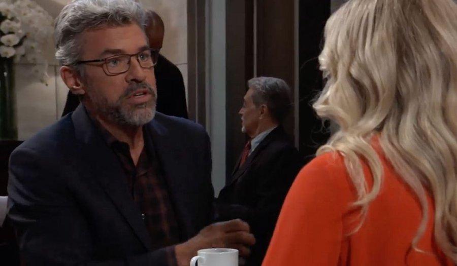 Mac tells Felicia something at the Metro Court restaurant.