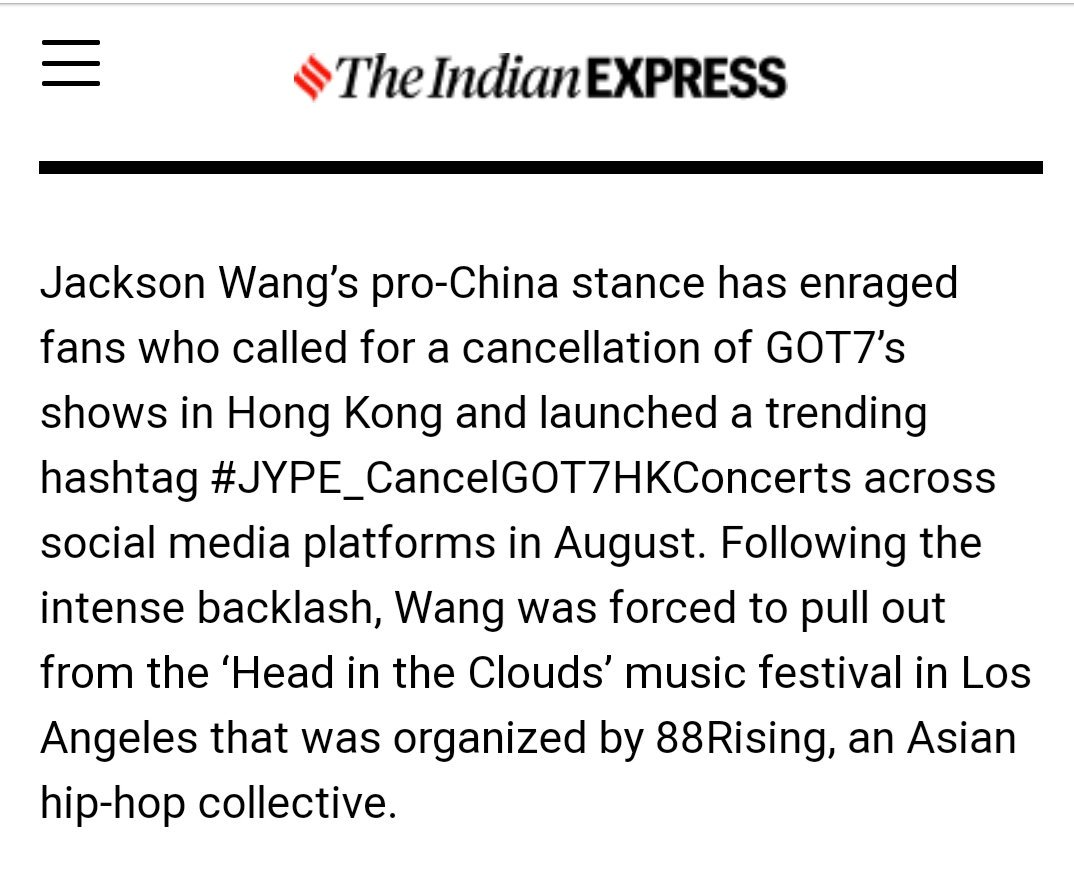 I'll cleared it up to you @IndianExpress about that. So, here's the points : • GOT7's fans was trended #JYPE_CancelGOT7HKConcerts due to safety for GOT7, their staffs, and of course GOT7's fans. • it's not about Jackson's pro-China stance which forced us to trended the #.