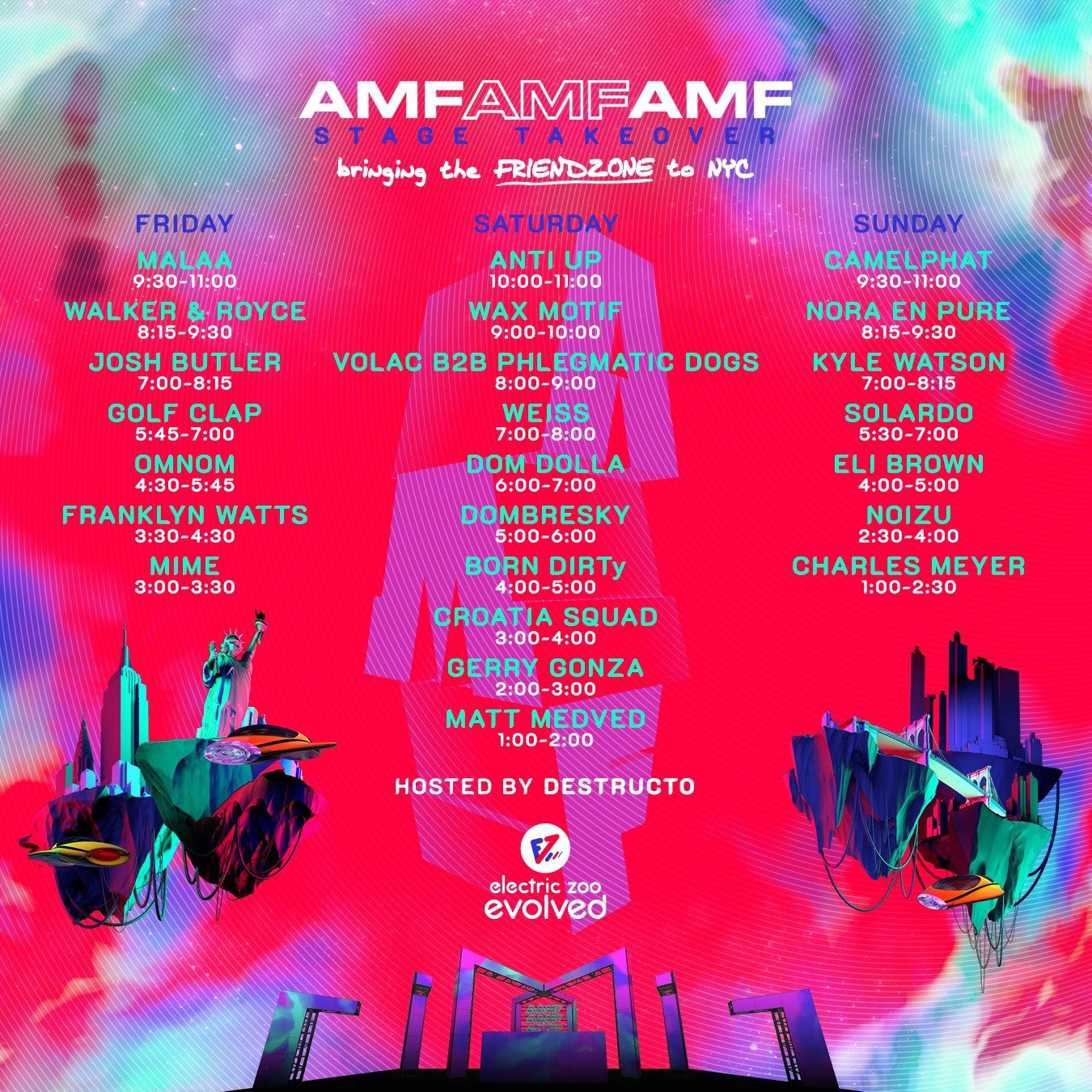 The Electric Zoo AMFAMFAMF lineup