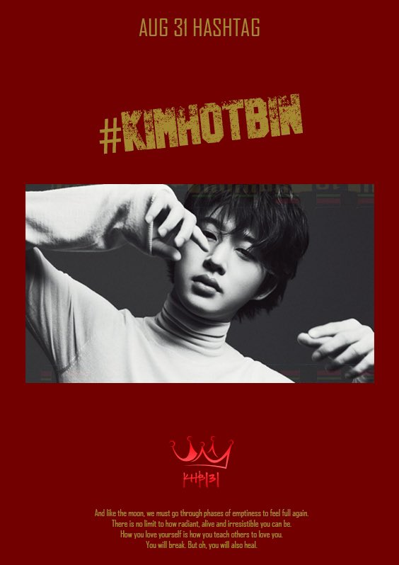August 31 daily hashtag support #.KimHotBin Starts at 9am kst We don't need to explain this one do we 😏