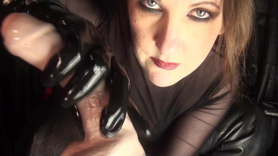 Cock Tease With Black Winter Gloves