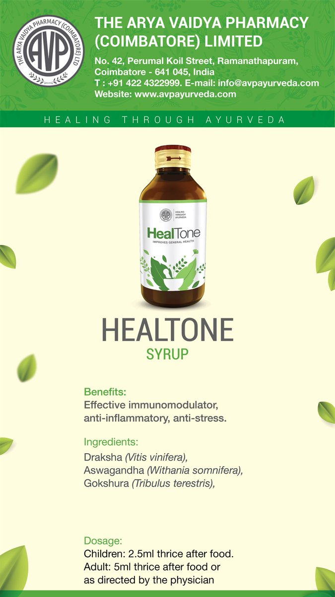 Heres an effective immunimodulator, anti inflammatroy and anti stress syrup rolled into one! Healtone, one of the finest ayurvedic formulations from AVP. #antiinflammatory #antistress #avpforlife #avpforhealth #avp ##healtone #syrup shop.avpayurveda.com/default/cofhea…