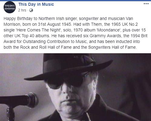 Happy Birthday to Van Morrison!