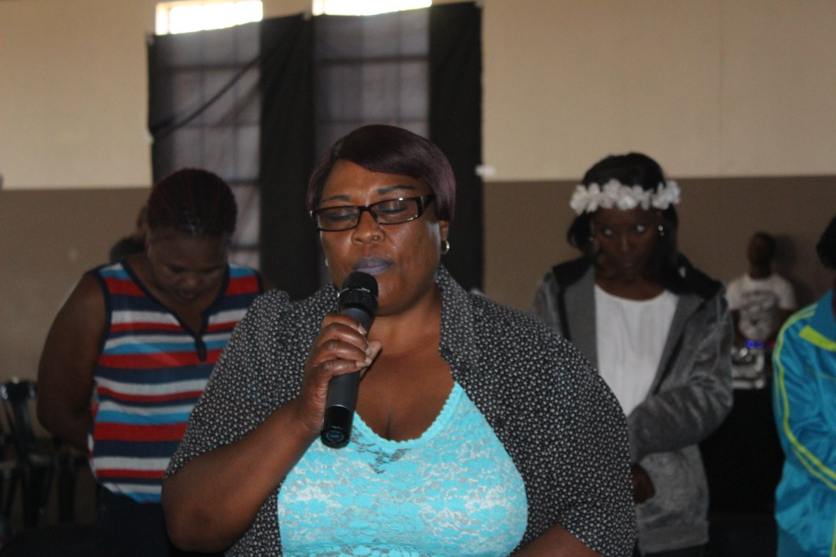 "A community member, Mme Maipone, opens the event with a prayer. She prays for safety and redemption for the women in the Vaal.   ""...eba le rona basadi ka sebaka sena""  #EndGBV #CommunityStrategies #CommunityPower #WomxnVSthepolicepic.twitter.com/tcNdBz52Jo"