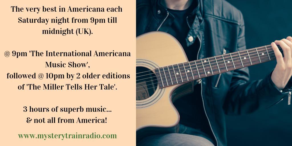 9PM (UK) its #Americana time. Michael Park sharing tracks hes enjoyed the last few years & Karen Miller playing selections from @HappyWoman9 @thewailinjennys @RayLaMontagne & more. Listen via mysterytrainradio.com/listen or via @tunein radio @ tunein.com/radio/Mystery-… :)
