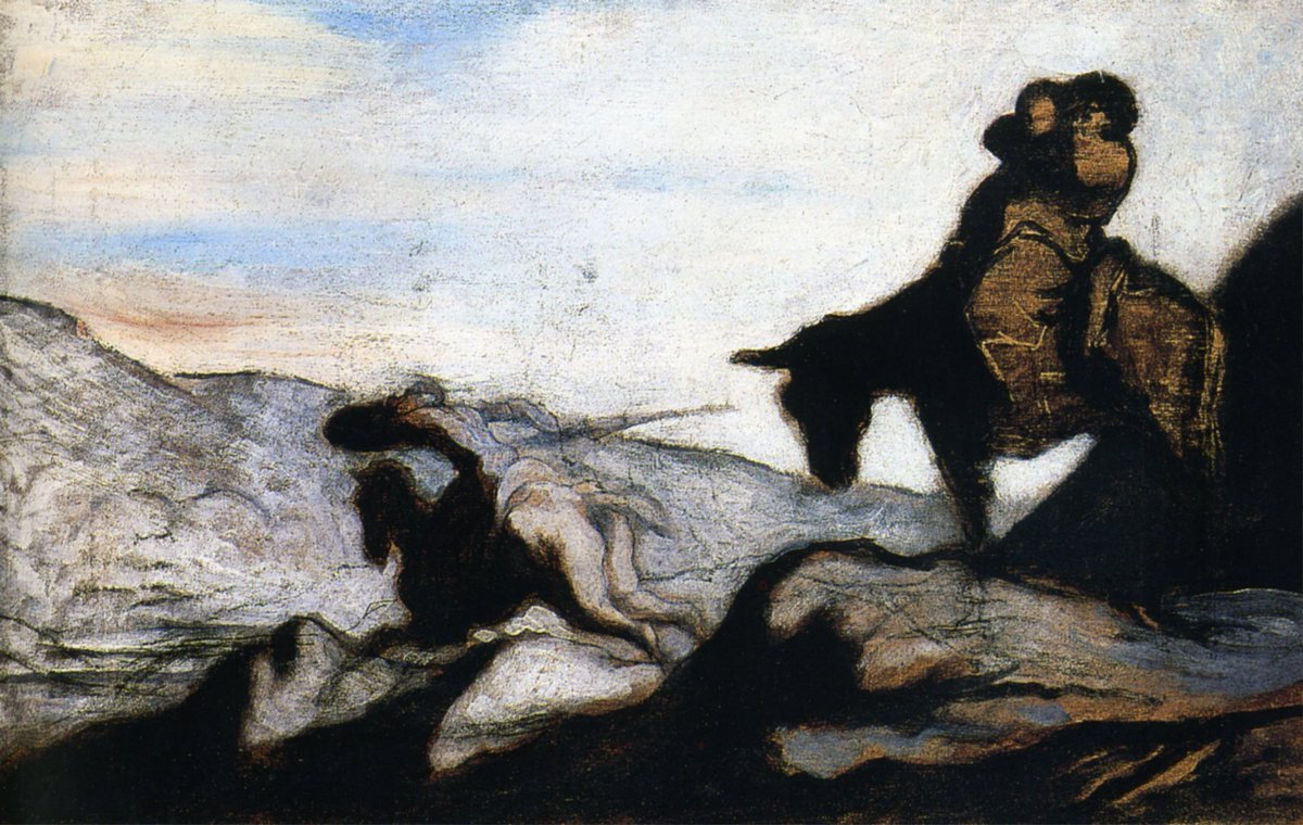 Don Quixote and Sancho Panza in the Mountains, Honore Daumier @artistdaumier #daumier #honoredaumier <br>http://pic.twitter.com/MWlcudaw3L