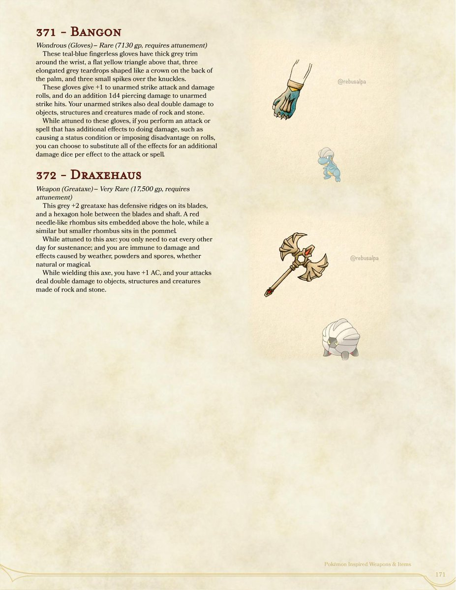 #DnD5e #Pokemon Magic Items based on art by @rebusalpa, p171, #Bagon & #Shelgon with some #gloves for #punching #rocks and a #greataxe for keeping things out of your eyes PDF-
