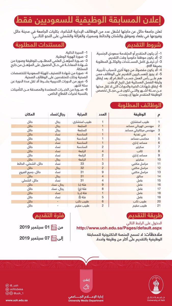 جامعة حائل Ar Twitter إعلان
