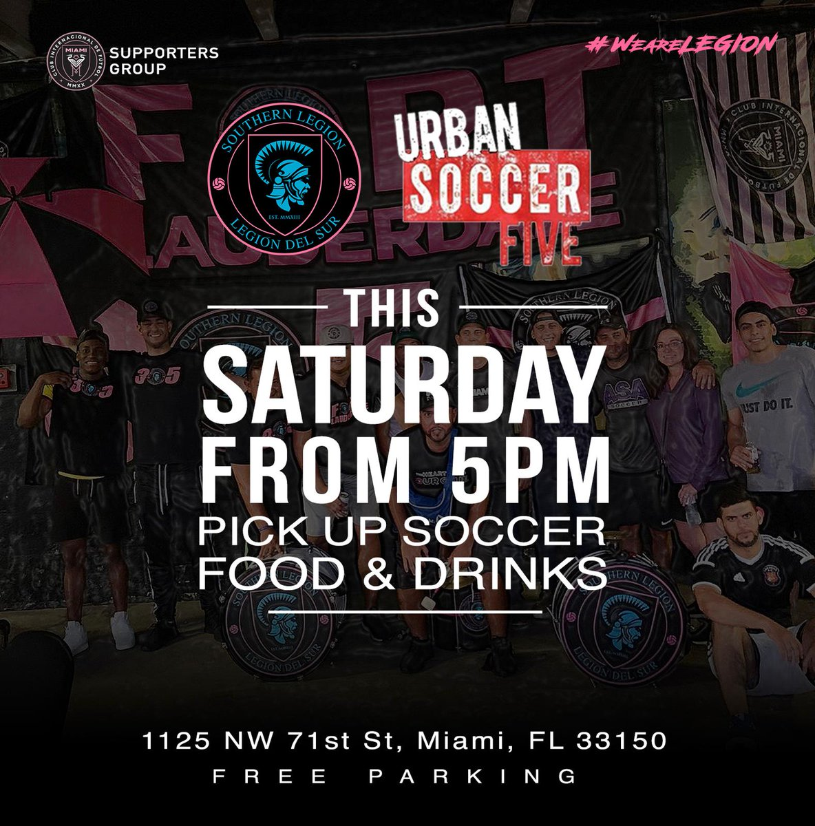 "Vamos Legion to @URBANSOCCERMIA Drums are set and we are ready to play! Starts at 5 pm.  LEGION ""The Heartbeat of @InterMiamiCF ""  . . .  #futbol #miami #soccer #Dorian #InterMiamiCF #intermiami #miamifutbol #davidbeckham #HurricaneDorian2019pic.twitter.com/uEle6fwx8n"