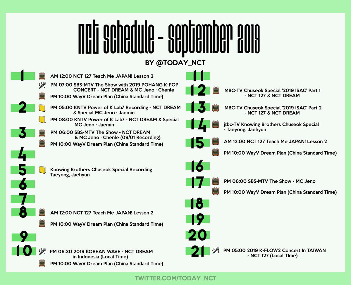NCT SCHEDULE (@today_NCT)   Twitter