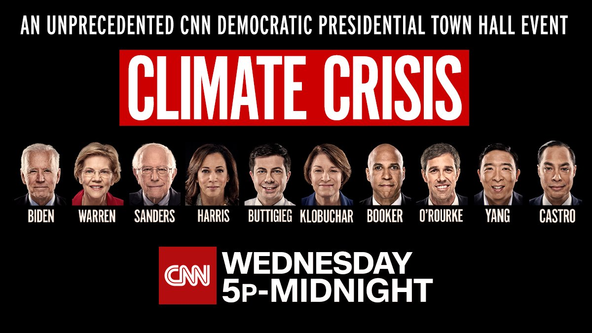Image result for WEDNESDAY SEPT 4 5 PET A CNN DEMOCRATIC PRESIDENTIAL TOWN HALL EVENT CLIMATE CRISIS