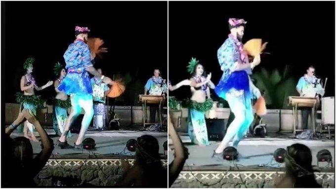 【影片】真的辣眼睛!McGee頭帶花環穿著流蘇裙,大跳夏威夷草裙舞!