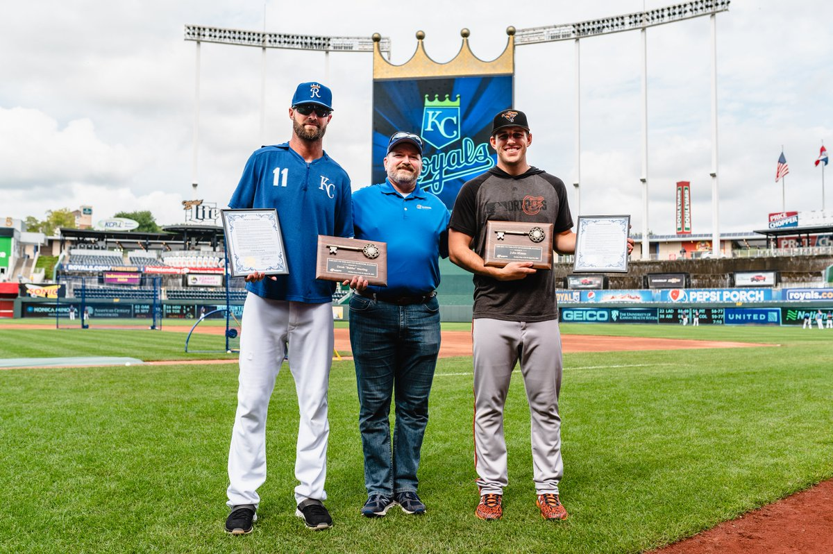 Bubba Starling and @Orioles pitcher John Means, former teammates at Gardner Edgerton High School, were handed the keys to the City of Gardner prior to tonight's game.  The KC community is proud to have both of you representing our area on baseball's biggest stage. <br>http://pic.twitter.com/dLLS71rJ1t