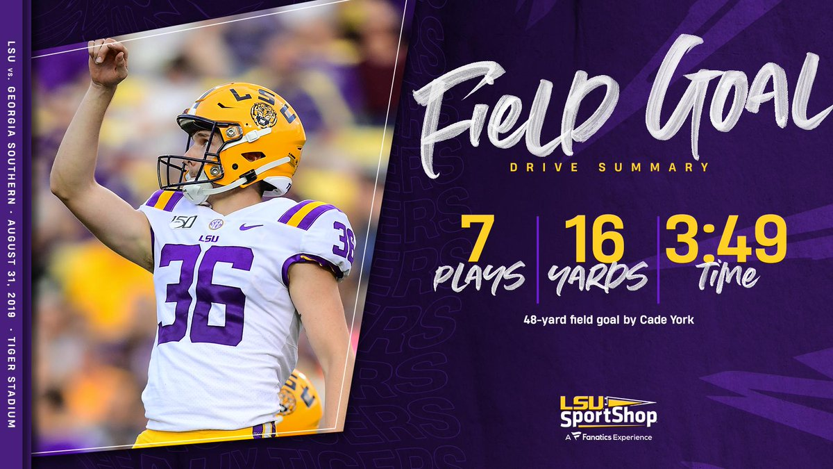 It's @YorkCade from 48 yards out! #LSU has a 55-3 lead with 10:44 left in the game. #GeauxTigers